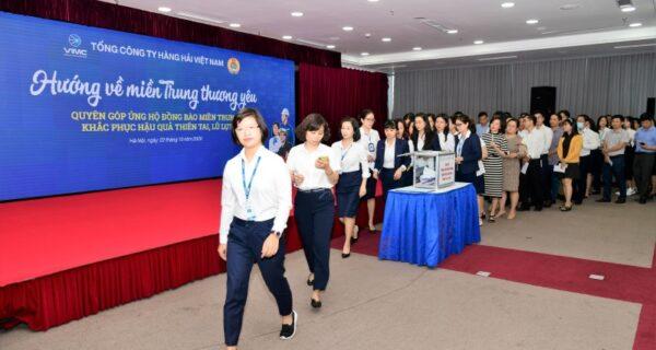 Tấm lòng cán bộ, CNVCLĐ, đoàn viên công đoàn Tổng công ty Hàng hải Việt Nam hướng về miền Trung thương yêu