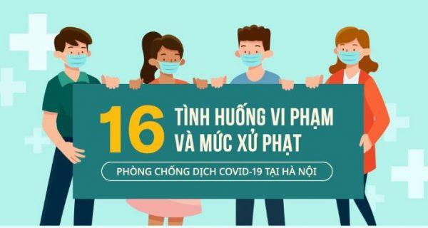 16 tình huống vi phạm và mức xử phạt phòng chống dịch Covid-19 tại Hà Nội