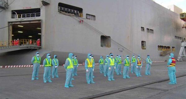 Siết chặt quy trình khai thác tàu chở ôtô, đảm bảo an toàn phòng dịch tại Cảng Hải Phòng